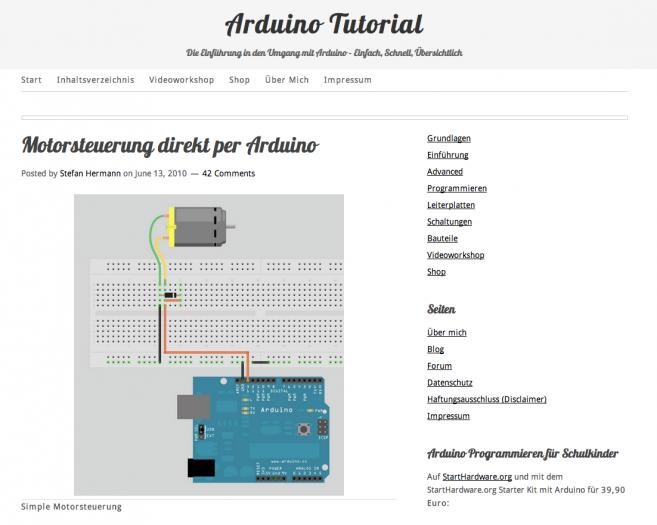 Stefan Hermann erklärt auf dieser Seite, was man mit dem Mikrocontroller Arduino anstellen kann. Zugleich bietet er in einem Amazon-Partnershop weiterführende Literatur und passendes Zubehör an. (Screenshot: arduino-tutorial.de)