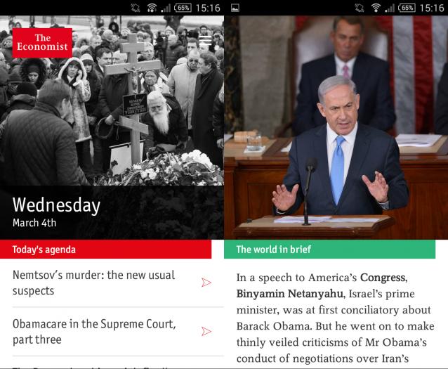 Economist Espresso nennt sich ein täglicher Newsdienst des Magazins, den es nur als App gibt, nicht im Web. Die Redaktion liefert fünf Artikel zu den wichtigsten Themen des Tages, eine Zusammenfassung des Vortages sowie wesentliche Marktdaten. (Screenshot: economist.com)