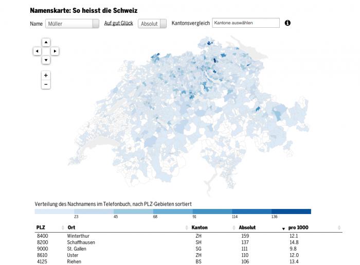 Dieses Beispiel aus dem Tagesanzeiger verdeutlicht, wie viel aussagekräftiger eine Visualisierung gegenüber einer Datentabelle sein kann. Hier geht es um die Verteilung von Nachnamen in der Schweiz. Auf einen Blick werden dabei regionale Zusammenhänge deutlich. (Screenshot: blog.tagesanzeiger.ch)