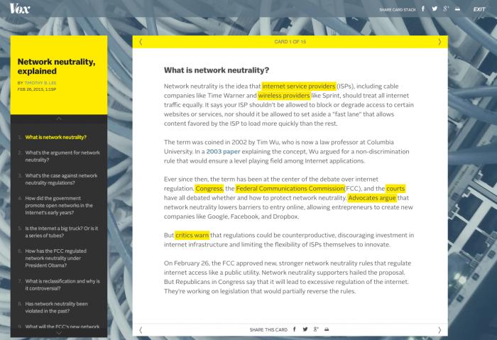 Die Seite Vox.com behandelt hier das so sperrige wie wichtige Thema der Netzneutralität. Jede Karte beschäftigt sich dabei mit einer wesentlichen Frage. Die Karten verweisen über Links auch aufeinander. Zudem werden sie regelmässig aktualisiert. (Screenshot: vox.com)