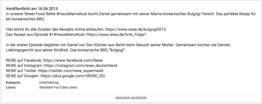 Screenshot Begleittext zum Video auf dem rewe-YouTube-Channel