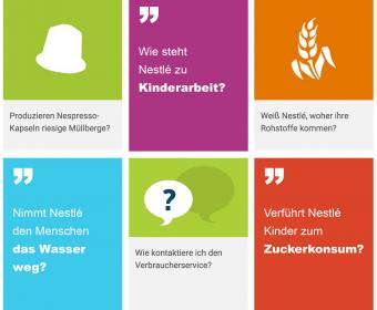 Screenshot der Frag Nestlé-Plattform auf nestle.de