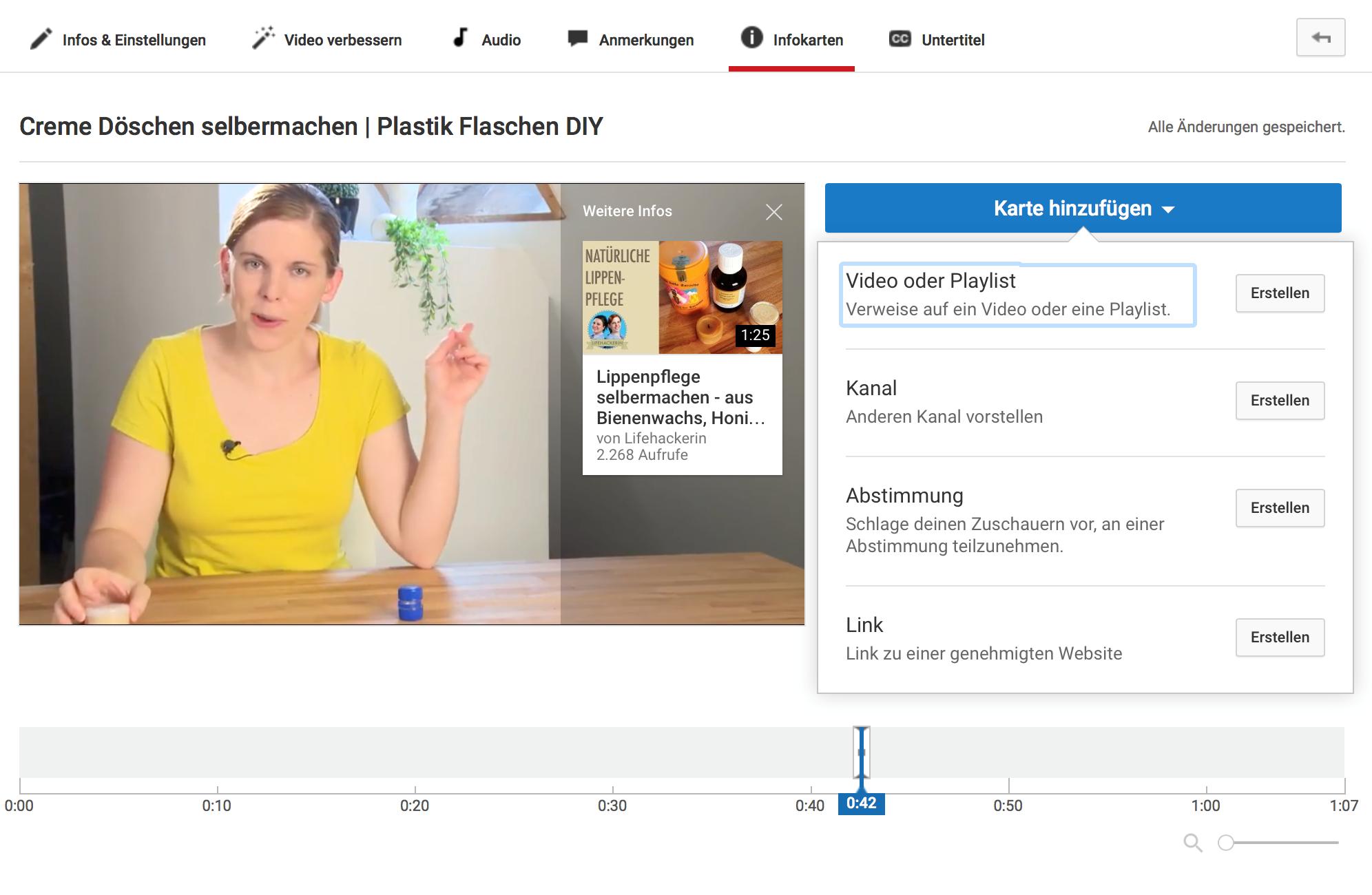 Youtube Video Infocard einbinden