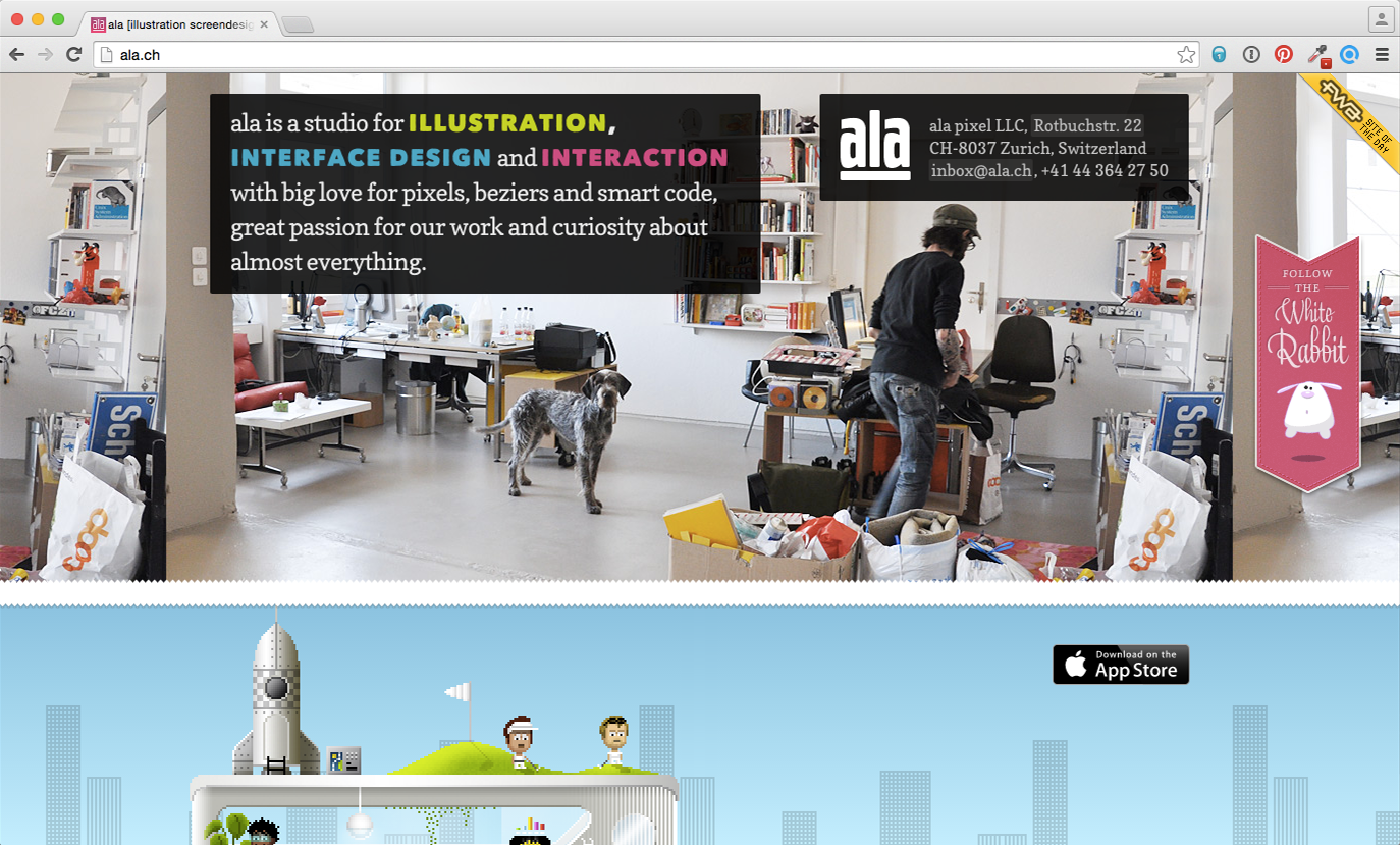 Screenshot: ala.ch (Vor der Überarbeitung im November 2015)