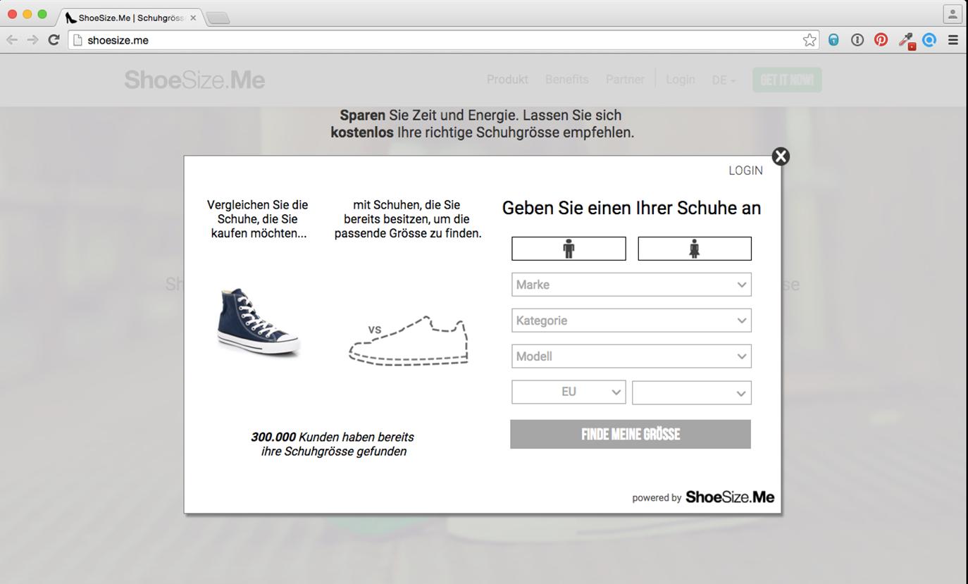 Screenshot: shoesize.me